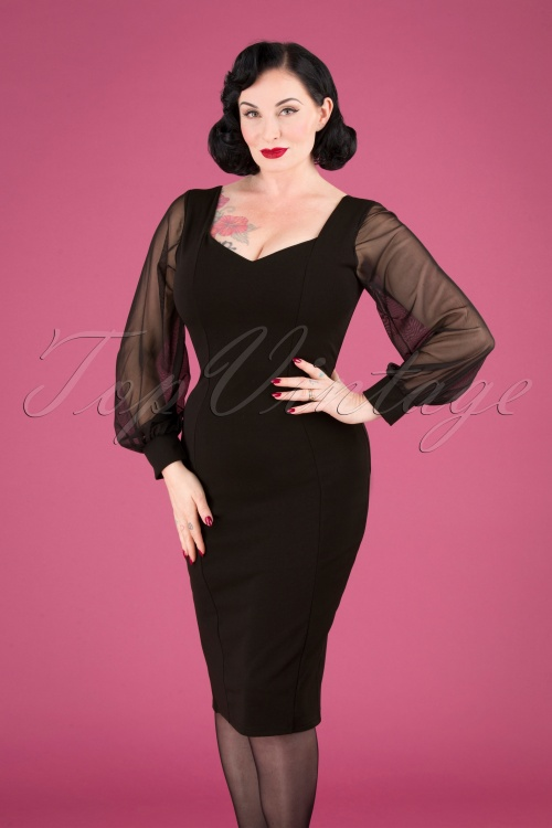 Vintage Chic 31167 Black Mesh Sleeves Pencil Dress 20190906 040MW
