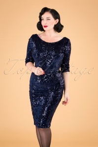 Arlyne Sequin Pencil Dress Années 50 en Velours Bleu Marine
