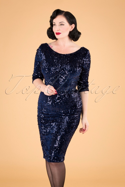 Vintage Chic 31538 Navy Blue Sequine Pencil Dress 20190927 040M W