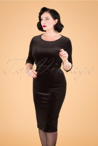 50s Vivian Pencil Dress in Black Velvet