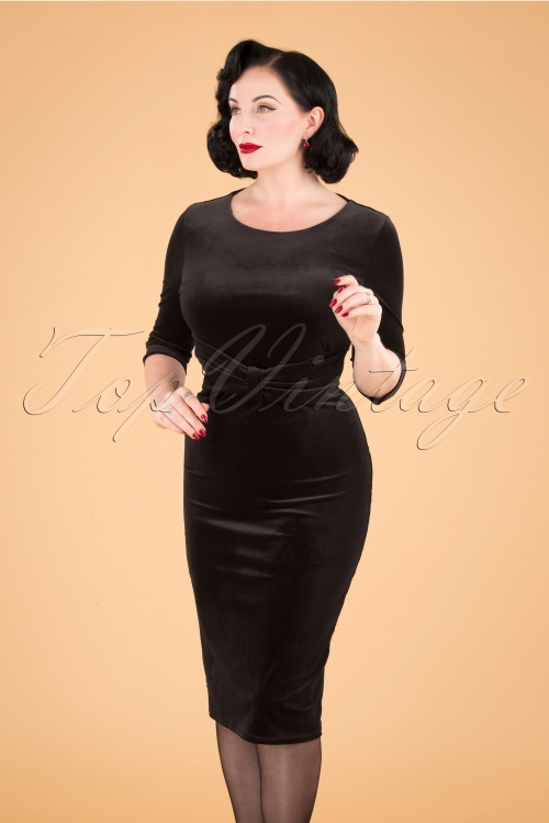 Vintage Chic 31805 Velvet Pencil Dress Black 20190923 040MW