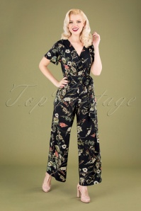50s Quinty Floral Jumpsuit in Dark Navy