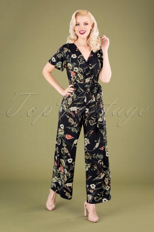 Vintage Chic 30411 Jumpsuit Floral Black 010519 040MW