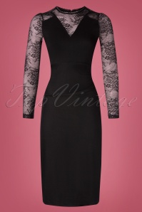 50s Falling In Love Pencil Dress in Black