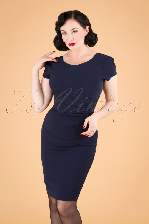 vintage Chic 31139 Pencildress Navy 20190716 040MW