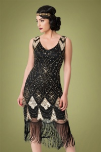 Unique Vintage 20s Lina Fringe Flapper Dress in Black and Gold