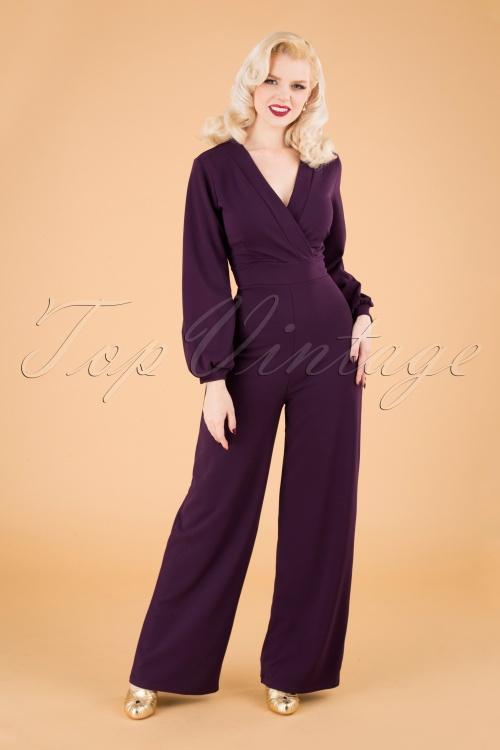 Vintage Chic 31147 Jumpsuit Aubergine 09192019 040MW