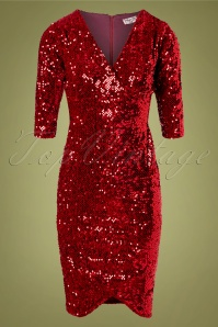 Vintage Chic for TopVintage 50s Saskia Sequin Pencil Dress in Red Velvet
