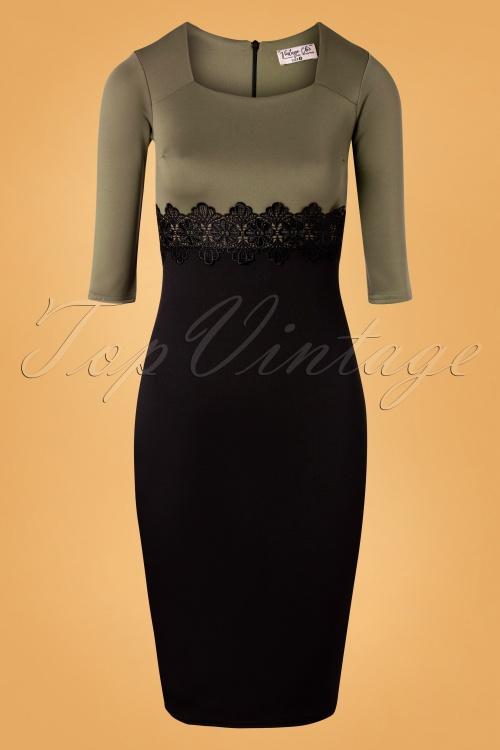 Vintage Chic 32723 Pencildress Scarlet Olive Black 10312019 003 W