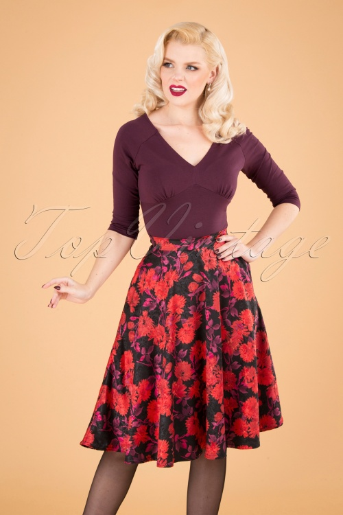 Vintage Chic 31193 Swingskirt Black Red Floral Satin 190821 040MW