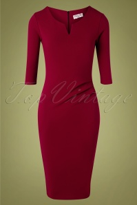 Shelia Pencil Dress Années 40 en Bordeaux