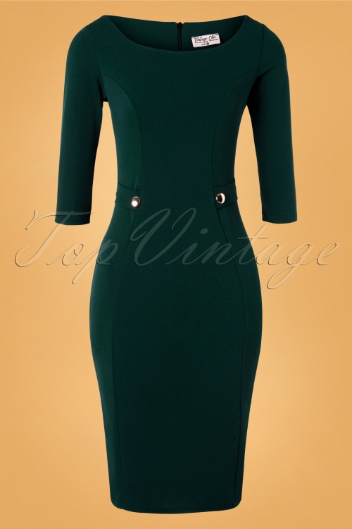 Vintage Chic 32111 Pencildress Forest Green Gold 10312019 001 W
