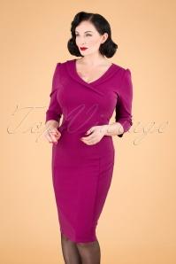 50s Hazel Long Sleeve Pencil Dress in Amaranth