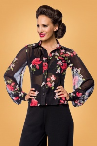 50s Dora Floral Blouse in Black