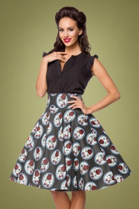50s Claire Cat Swing Skirt in Black