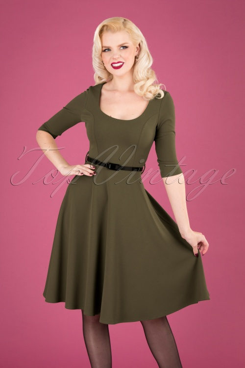 Vintage Chic 31429 Swingdress Olive 09192019 040MW