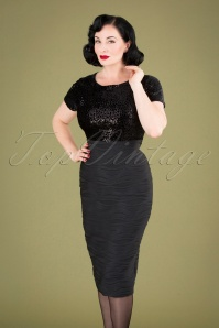50s Bionda Sequins Pencil Dress in Black