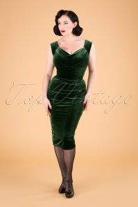 50s Lynn Velvet Pencil Dress in Dark Sage