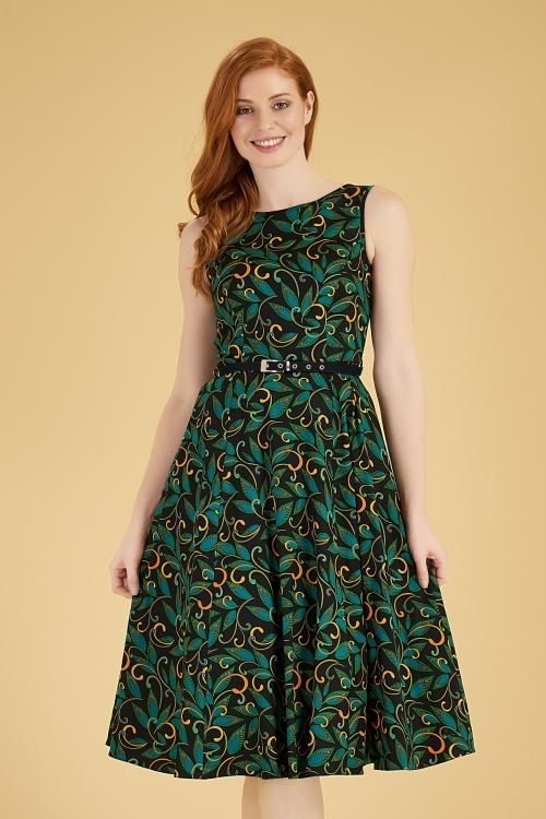 Lady V 30857 Hepburn Deco Swing Dress in Black 20190823 020L