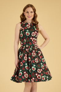 50s Matryoshka Tea Dress in Black