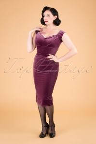 50s Lynn Velvet Pencil Dress in Dusty Pink