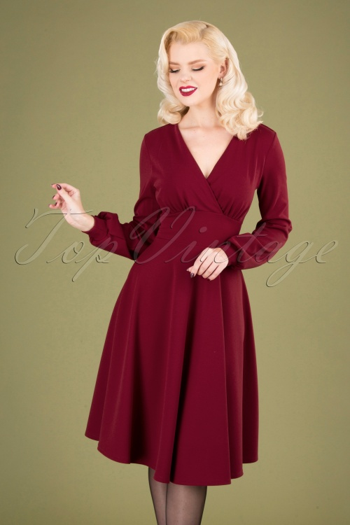 Vintage Chic 31812 Swingdress Wine Red 10022019 040MW