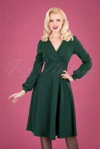 50s Helaine Swing Dress in Forest Green
