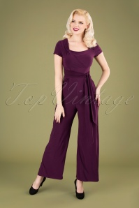 Vintage Chic 32014 Jumpsuit Aubergine 50s 09192019 040MW