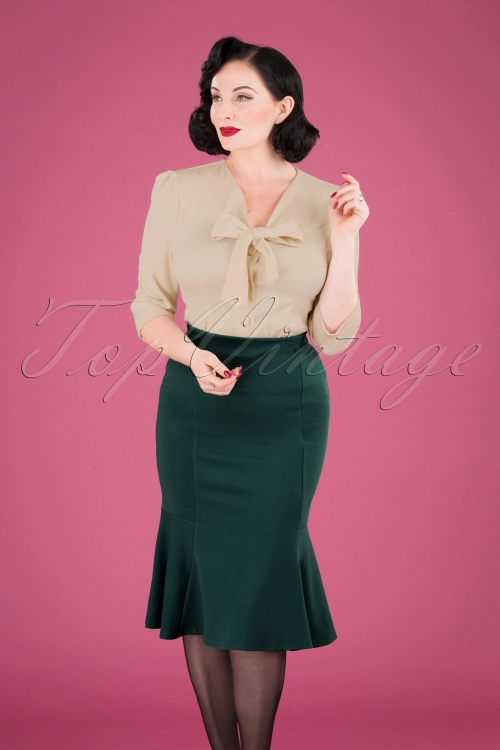 Vintage Chic 32441 Pencilskirt Green Forest 09252019 040MW