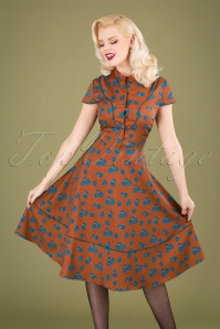 Vixen 30881 Swingdress Ada Button Floral Brown 10012019 040MW