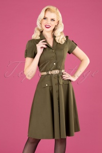 40s Martha Button Down Flare Dress in Olive