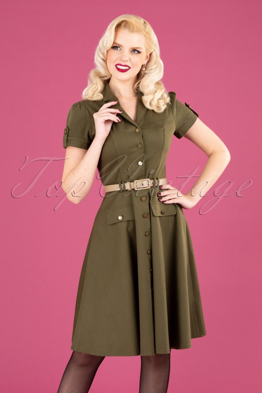 500 Vintage Style Dresses for Sale 40s Martha Button Down Flare Dress in Olive £62.08 AT vintagedancer.com