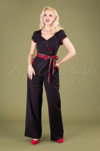 50s Vanessa Wide Leg Jumpsuit in Black