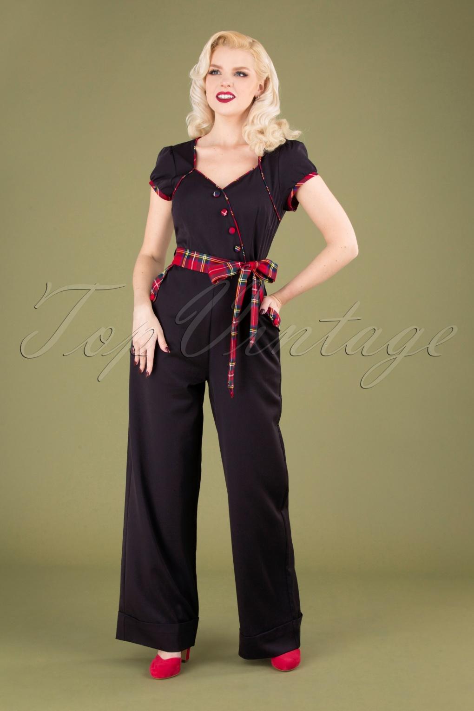 Vintage High Waisted Trousers, Sailor Pants, Jeans 50s Vanessa Wide Leg Jumpsuit in Black £62.16 AT vintagedancer.com