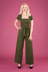 40s Martha Wide Leg Jumpsuit in Khaki