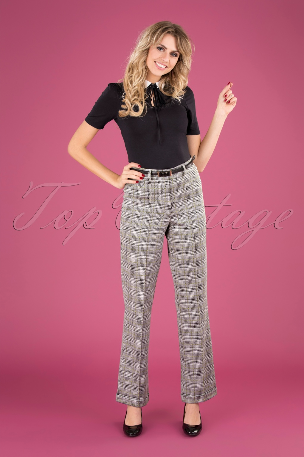60s – 70s Pants, Jeans, Hippie, Bell Bottoms, Jumpsuits 60s Paleis Trousers in Glen Check £68.74 AT vintagedancer.com