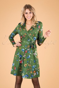 60s Butterfly and Poppy Wrap Dress in Green