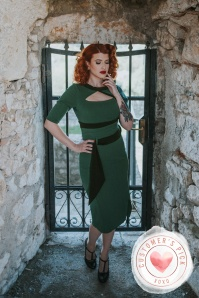 Miss Candyfloss 31027 Pencil Dress in Emerald Black 20191014 0004 KateDemonCP