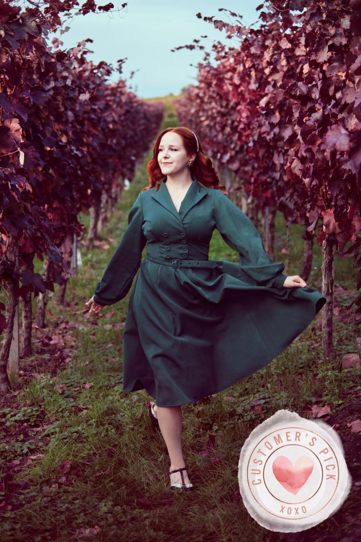 1950s Housewife Dress   50s Day Dresses 50s Mabel Kat Swing Dress in Teal £93.66 AT vintagedancer.com