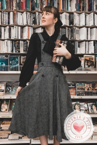 40s Brenda Librarian Check Pinafore Dress in Charcoal