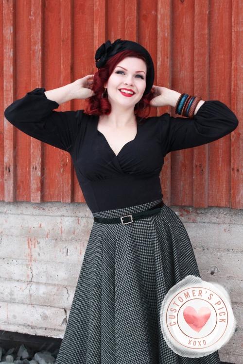 Unique Vintage 31208 Blouse Black Micheline 09162019 daisydamsel 5CP