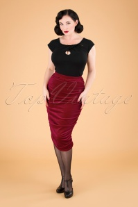 Gia Velvet Bodycon Pencil Skirt Années 50 en Rouge
