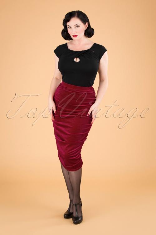 Vintage Chic 31630 Pencilskirt Plain Red Velvet 09192019 040MW