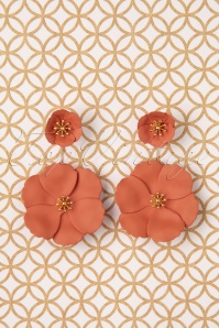 Bezer Earrings Années 70 en Orange
