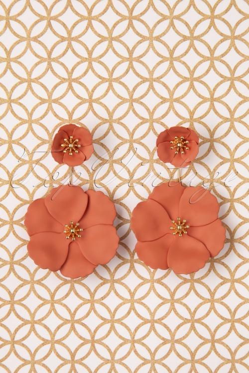 Louche 30059 Earrings Bezer Floral Gold Terracotta 11042019 003 W