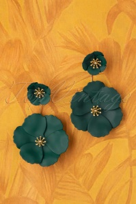 70s Bezer Earrings in Green