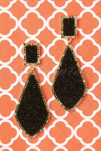 50s Naomi Earrings in Black and Gold