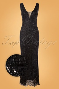 GatsbyLady Grace Embellished Maxi Dress Années 20 en Noir