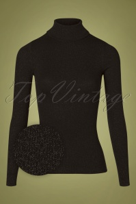 King Louie 70s Rollneck Lurex Rib Top in Black