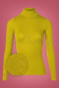 70s Rollneck Lurex Rib Top in Curry Yellow